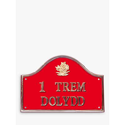 The House Nameplate Company Personalised Solid Brass Bridge House Sign, Daffodil Motif