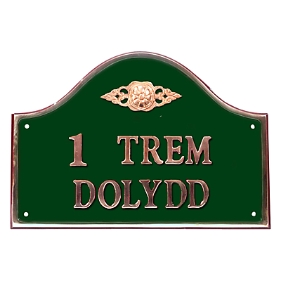 The House Nameplate Company Personalised Solid Brass Bridge House Sign, Flower Scroll Motif, W50 x H35cm