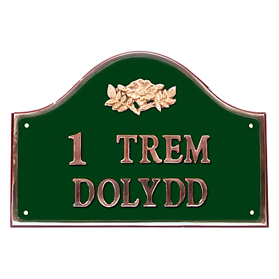 The House Nameplate Company Personalised Solid Brass Bridge House Sign, Wild Rose Motif