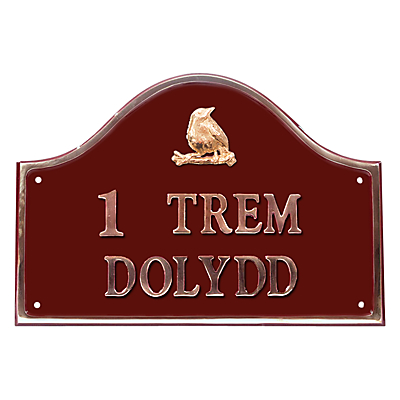 The House Nameplate Company Personalised Solid Brass Bridge House Sign, Bird Motif