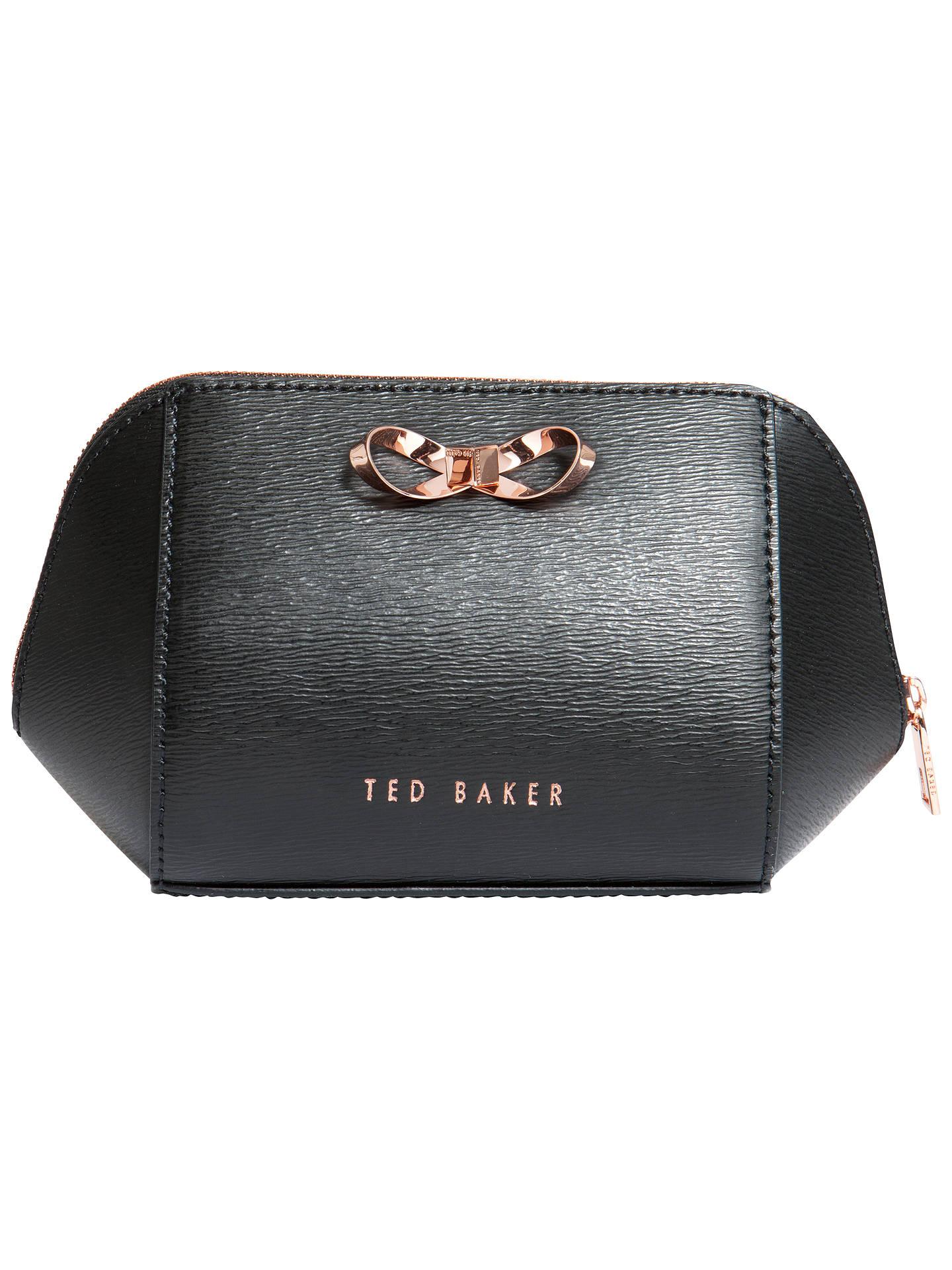 cdfc00747b4 Buy Ted Baker Ammi Bow Leather Makeup Bag, Black Online at johnlewis.com ...