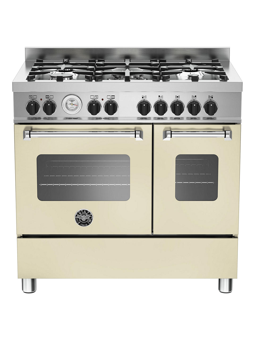 Buy Bertazzoni MAS905MFED Twin Dual Fuel Range Cooker, Cream Online at johnlewis.com