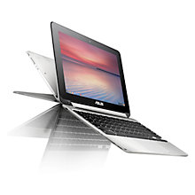 "Buy ASUS Chromebook Flip C100PA, ARM Cortex-A17, 4GB RAM, 16GB eMMC Flash, 10.1"" Touch Screen, Silver Online at johnlewis.com"