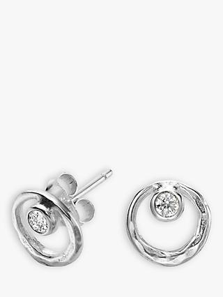 Dower & Hall Sterling Silver White Topaz Earrings, Silver