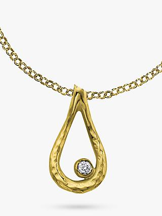 Dower & Hall Open Teardrop White Topaz Dewdrop Pendant