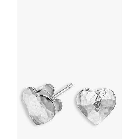 Buy Dower & Hall Sterling Silver Hammered Flat Heart Earrings, Silver Online at johnlewis.com