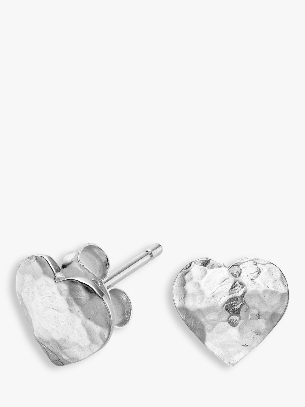 Dower & Hall Dower & Hall Sterling Silver Hammered Flat Heart Earrings, Silver