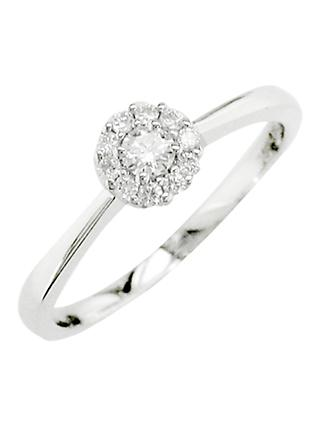 E.W Adams 18ct White Gold Diamond Cluster Ring, White Gold