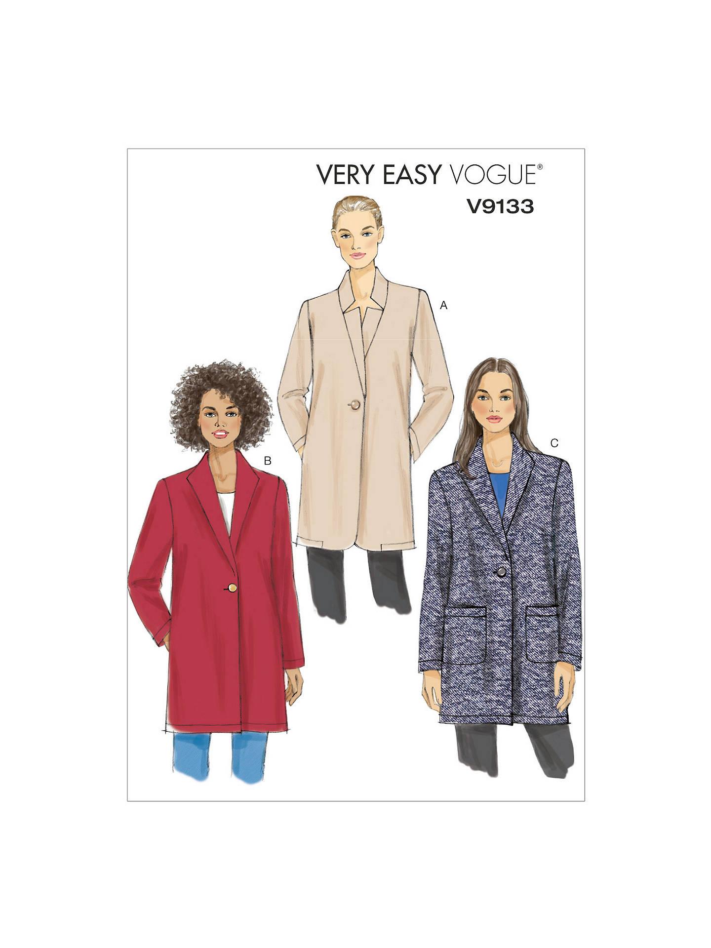 Vogue Women\'s Jacket Sewing Pattern, 9133 at John Lewis & Partners
