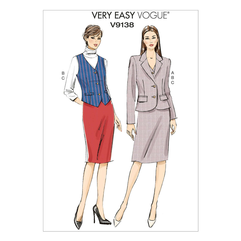 Vogue Women\'s Very Easy Jacket & Skirt Sewing Pattern, 9138 at John ...