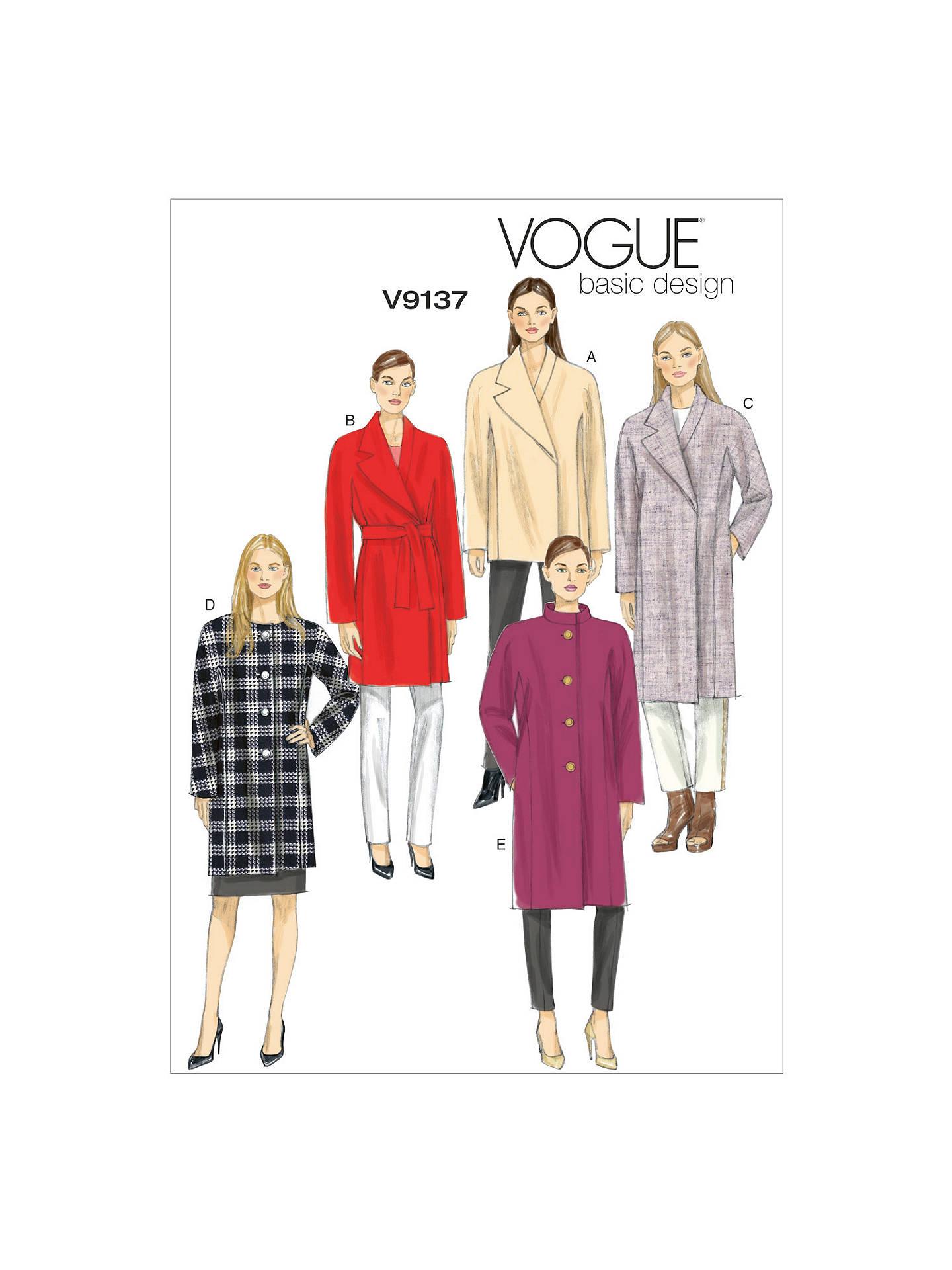 Vogue Women\'s Basic Design Coat Sewing Pattern, 9137 at John Lewis ...