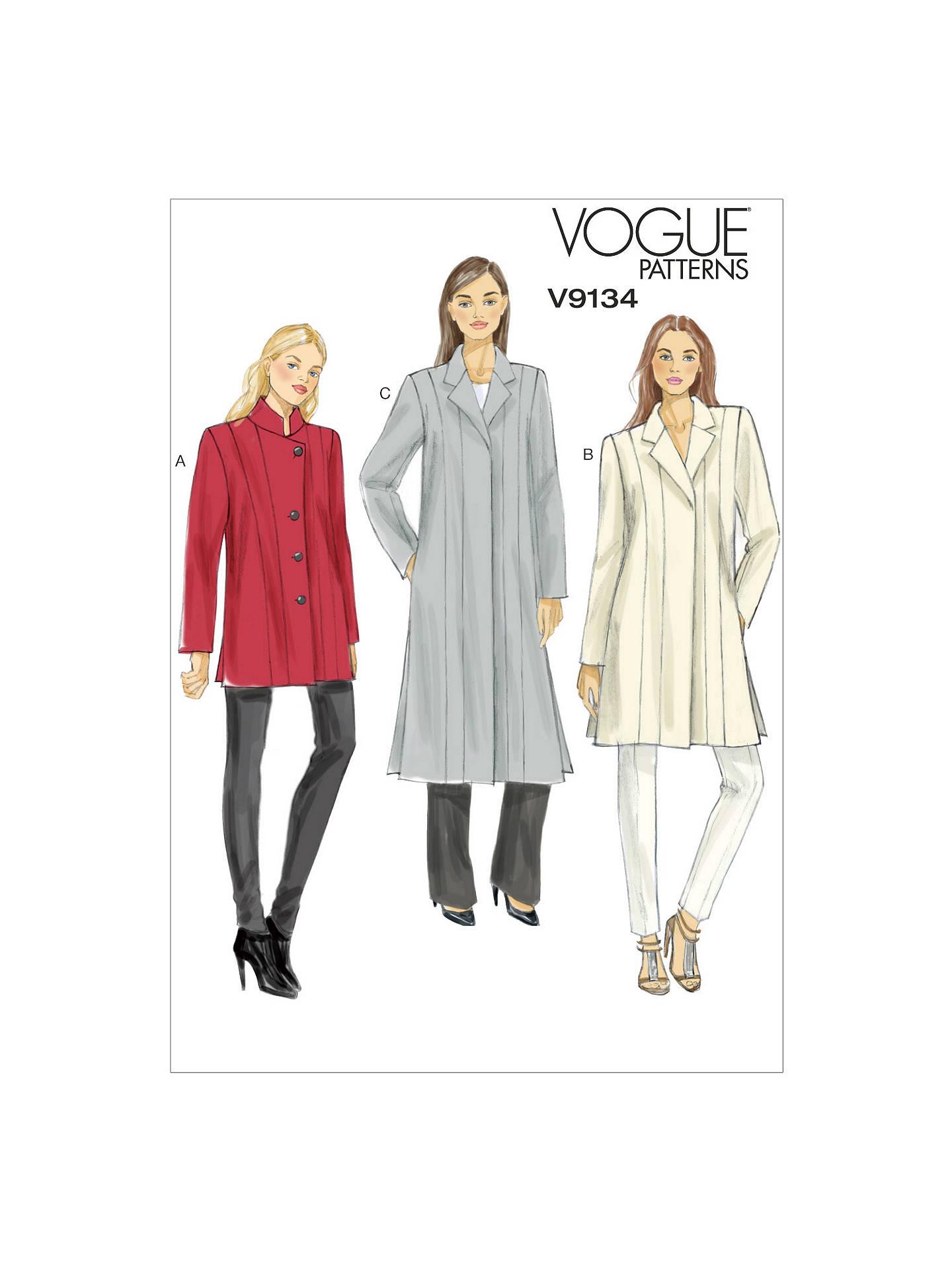 Vogue Women\'s Smart Coat Sewing Pattern, 9134 at John Lewis & Partners