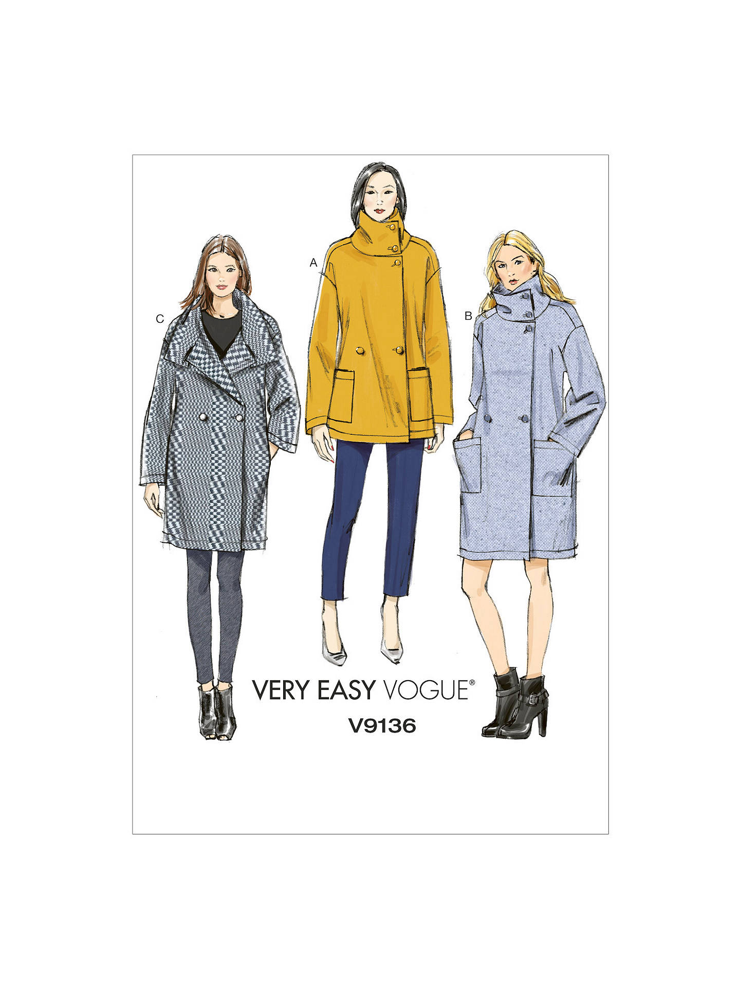 Vogue Women\'s Very Easy Coat Sewing Pattern, 9136 at John Lewis ...