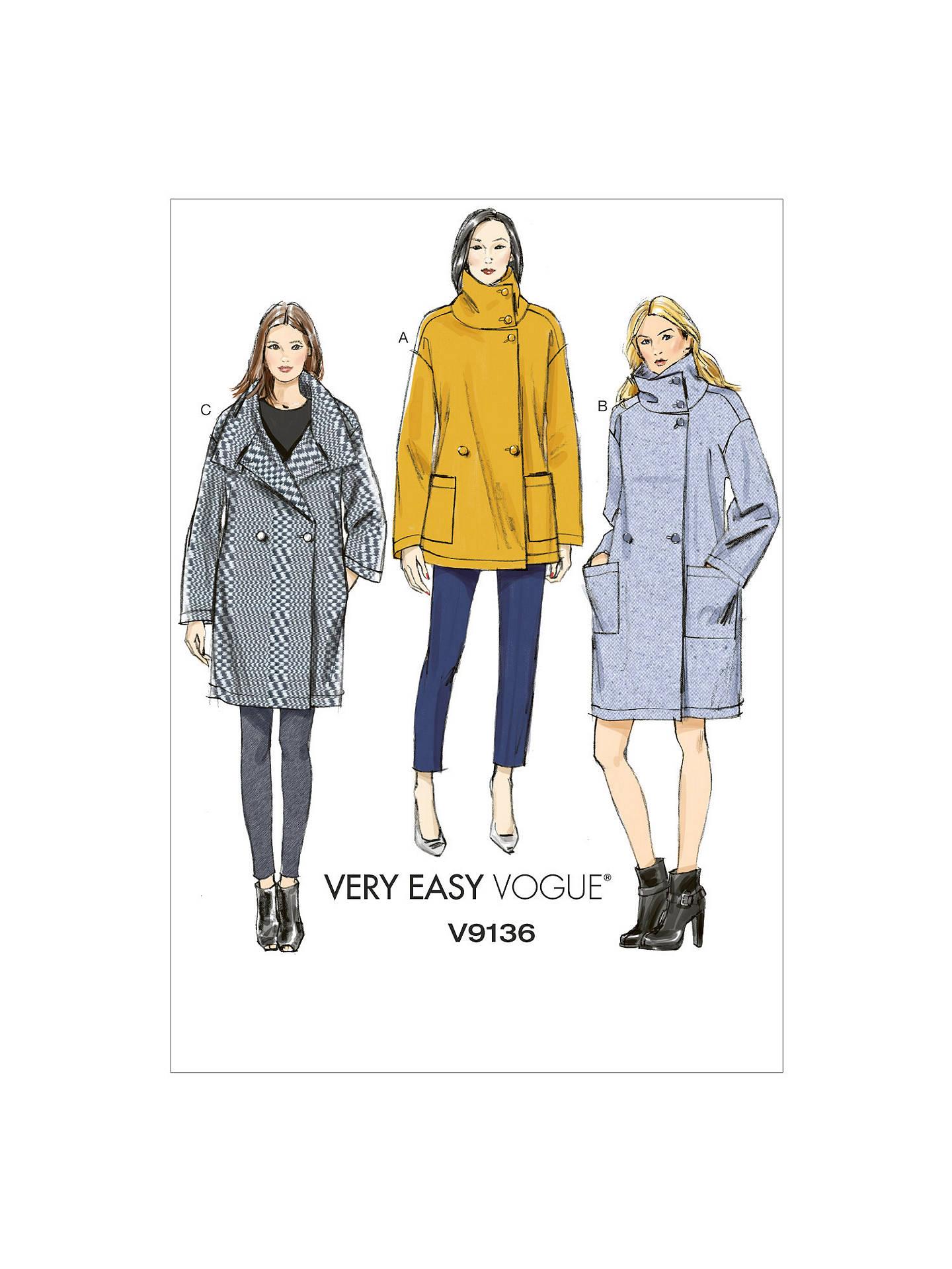 Vogue Women\'s Very Easy Coat Sewing Pattern, 9136 at John Lewis ...