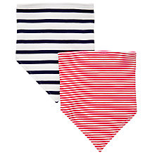 Buy John Lewis Baby Stripe Dribble Bibs, Pack of 2, Red/Navy Online at johnlewis.com