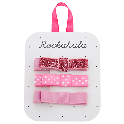 Rockahula Glitter Grosgrain Bow Clips, Pack of 3, Pink