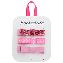 Buy Rockahula Glitter Grosgrain Bow Clips, Pack of 3, Pink Online at johnlewis.com
