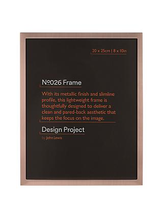 Design Project by John Lewis No.026 Rose Gold Finish Photo Frame, 8 x 10""