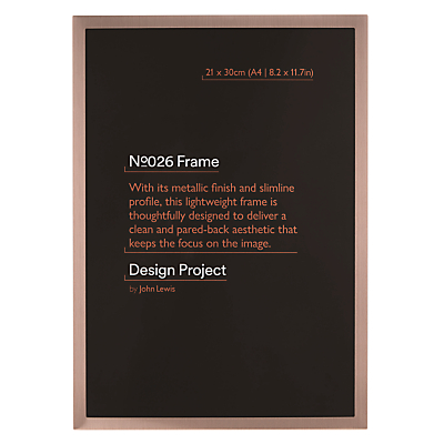 Design Project by John Lewis No.026 Rose Gold Finish Photo Frame, A4 (21 x 30cm/8.2 x 11.7)