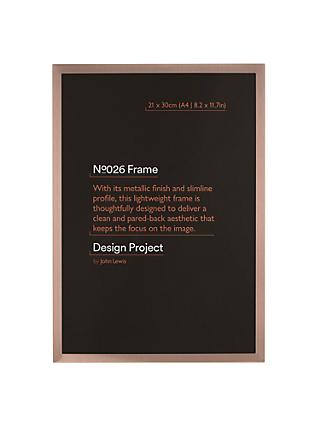 "Design Project by John Lewis No.026 Rose Gold Finish Photo Frame, A4 (21 x 30cm/8.2 x 11.7"")"