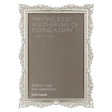 "Buy John Lewis Elsa Silver Plated Photo Frame, 4 x 6"" Online at johnlewis.com"
