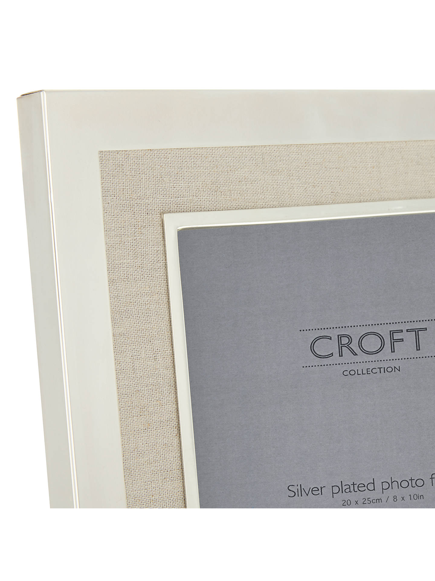 Croft Collection Silver Plated and Linen Photo Frame, 8 x 10\