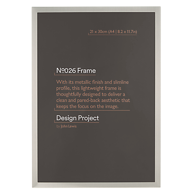 Design Project by John Lewis No.026 Pewter Finish Photo Frame, A4 (21 x 30cm/8.2 x 11.7)