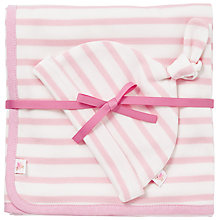 Buy John Lewis Baby Blanket and Hat Set, Pink Online at johnlewis.com