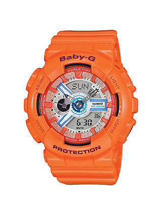 Buy Casio BA-110SN-4AER Women's Baby G Resin Strap Watch, Orange/Grey Online at johnlewis.com