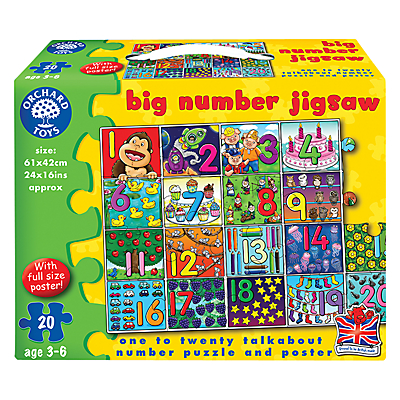 Image of Orchard Toys Big Number Jigsaw Game, 20 Pieces