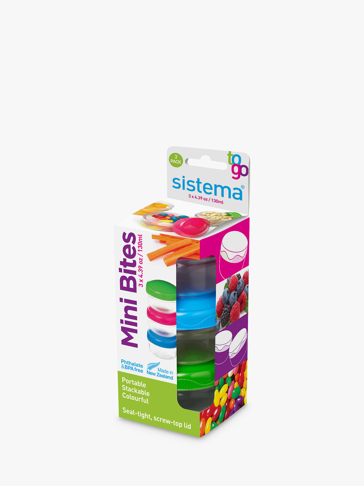 Buy Sistema Mini Bites To Go Snack Box, 130ml, Set of 3, Assorted Online at johnlewis.com