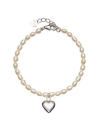 John Lewis & Partners Pearl And Sterling Silver Heart Bracelet