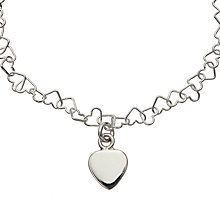 Buy John Lewis Sterling Silver Adjustable Heart Bracelet Online at johnlewis.com