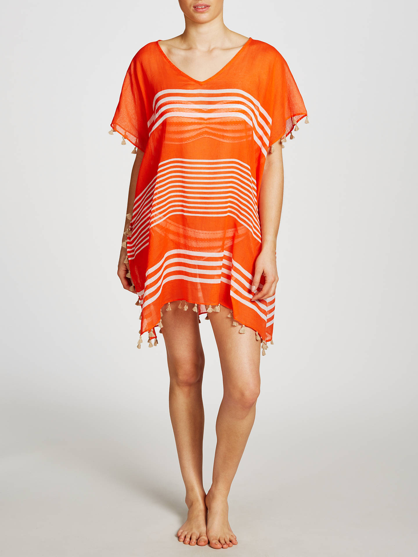 Buy Seafolly Gili Island Kaftan, Nectarine/White Online at johnlewis.com