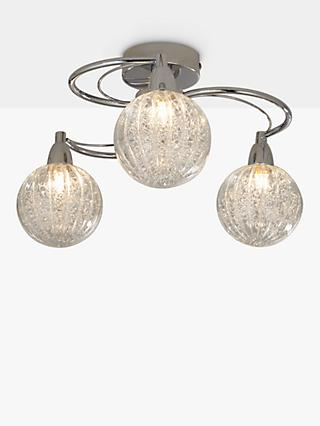 John Lewis & Partners Robertson Semi Flush 3 Arm Ceiling Light, Chrome