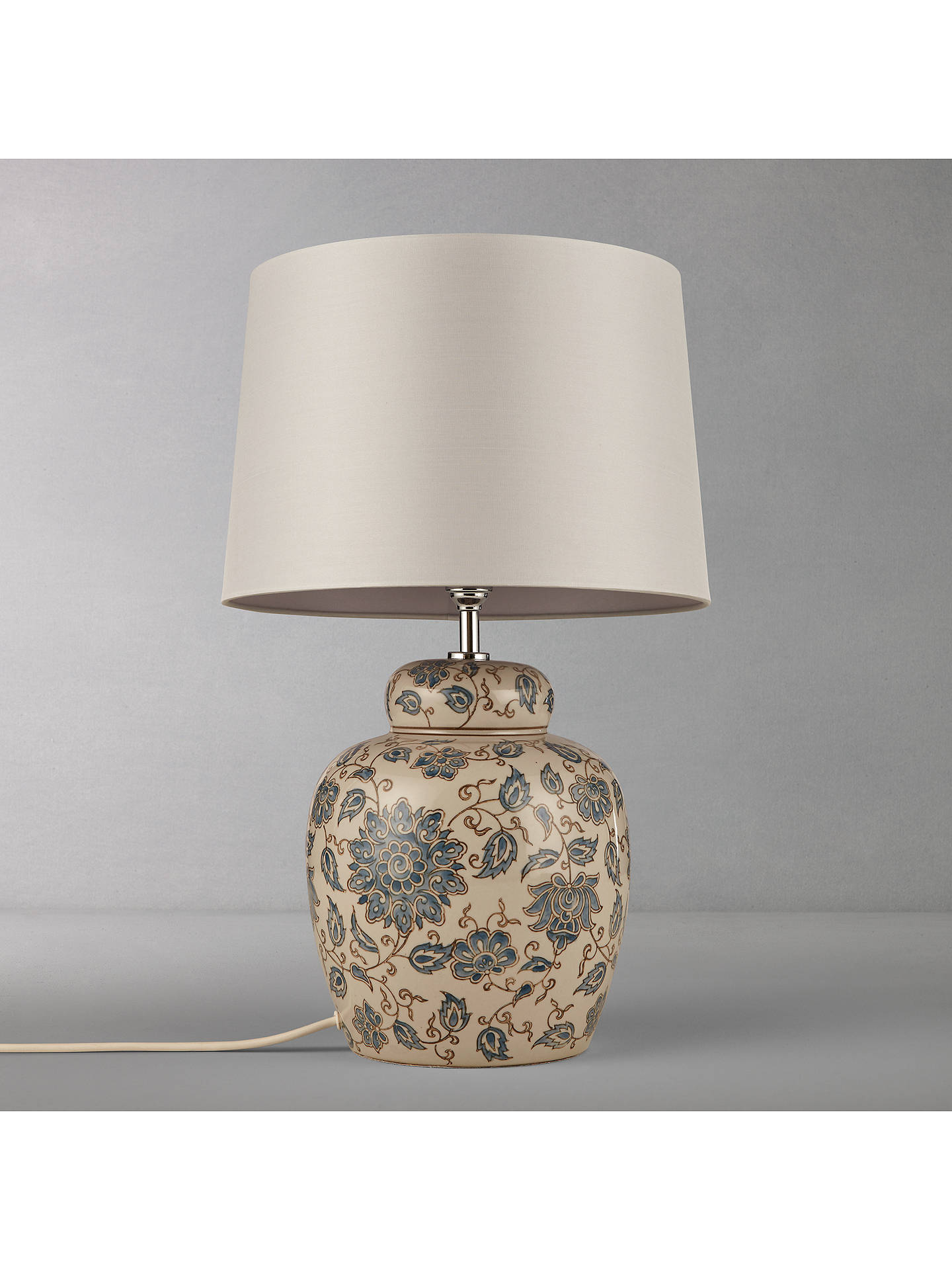 LewisPartners John Emily Ceramic BaseGreyH33cm Lamp VzMpSU