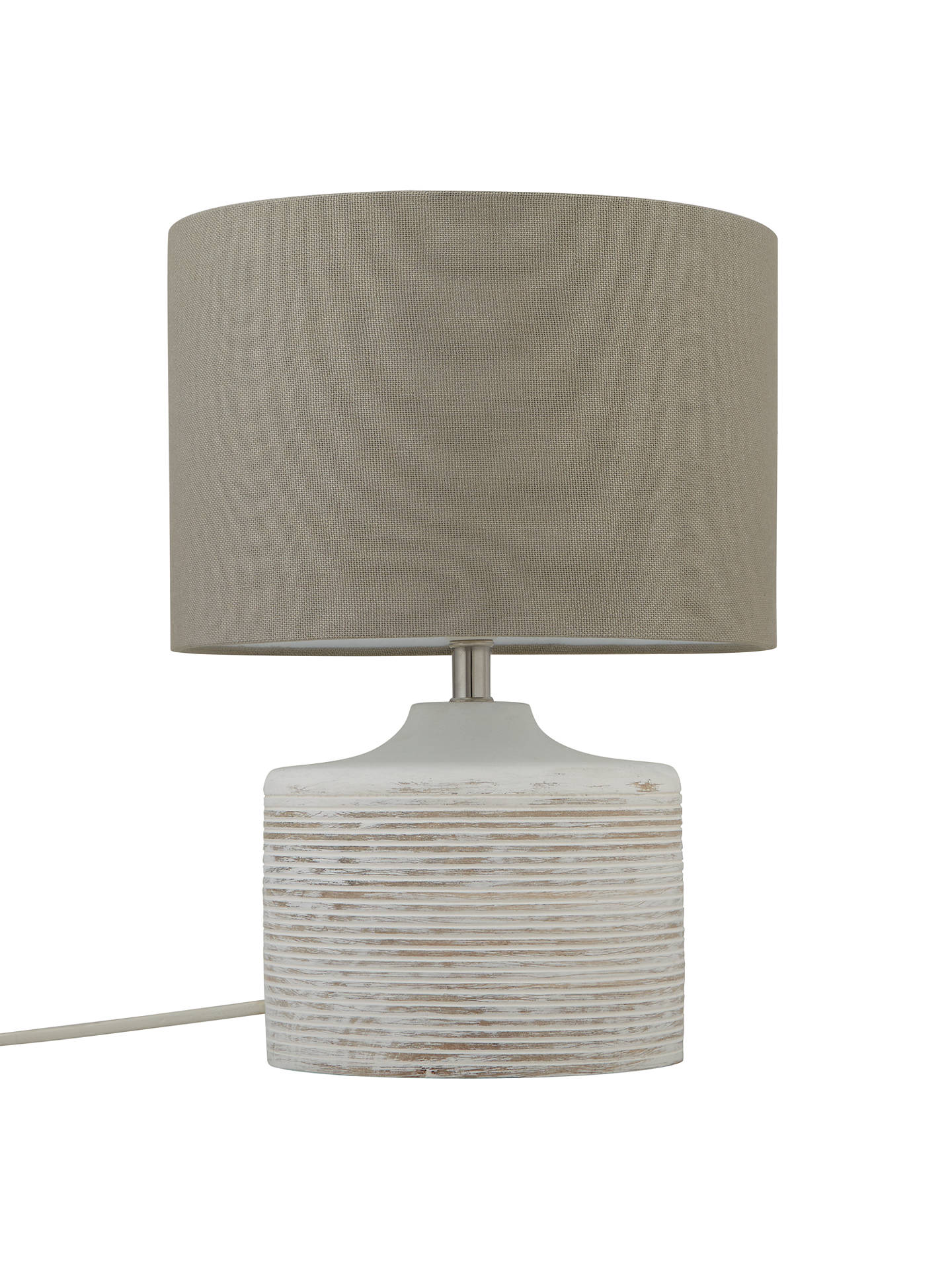 John Lewis Ira Ribbed Wooden Table Lamp White Wash Online At Johnlewis