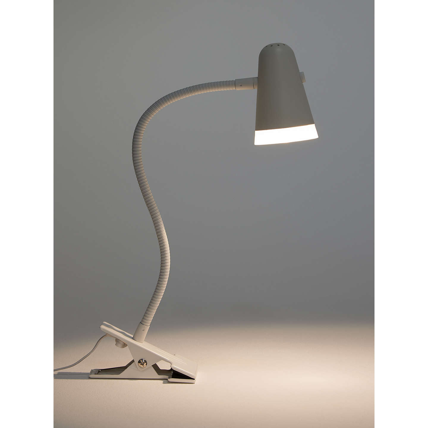 House By John Lewis Lorrie Led Clip With Switch Desk Lamp White At Johnlewis