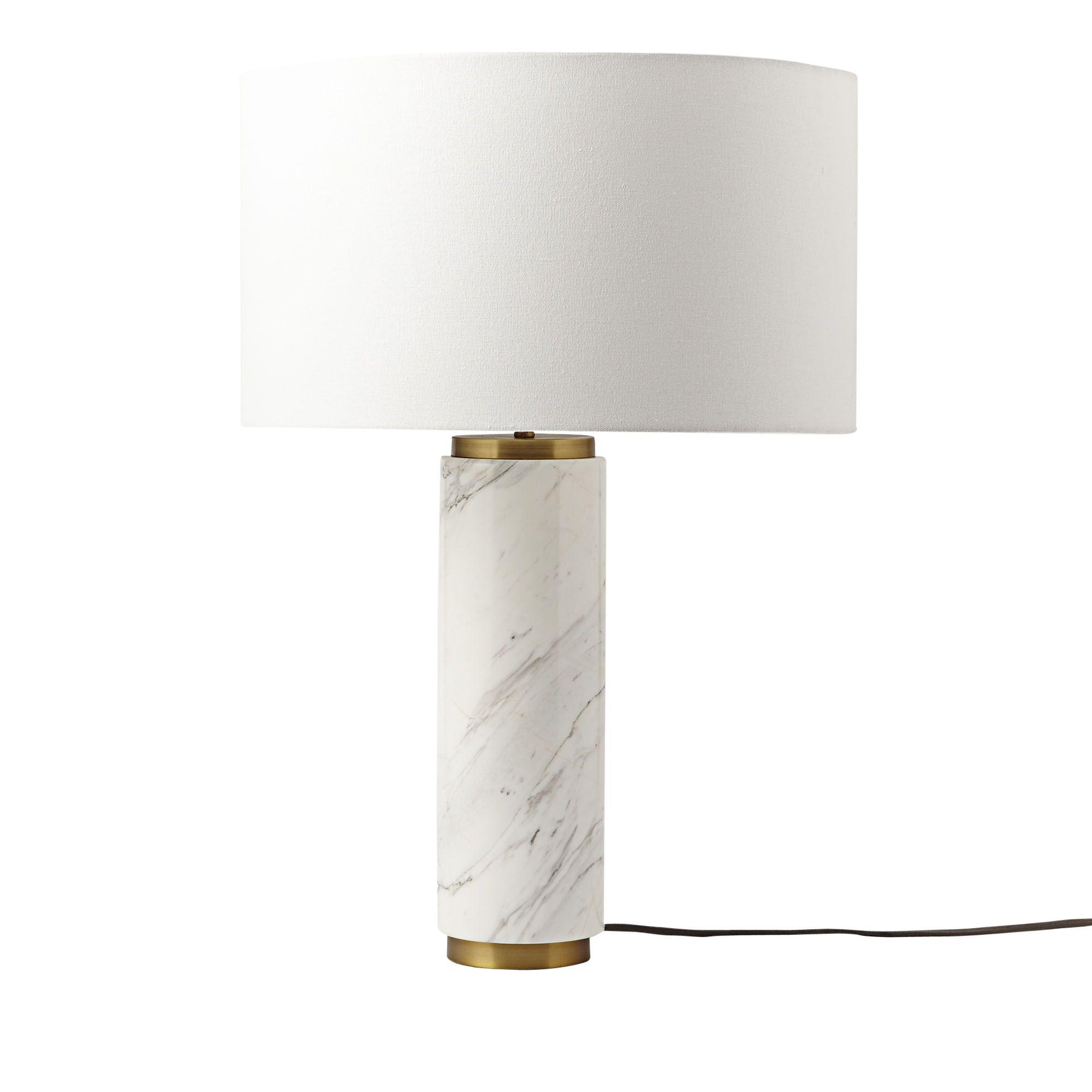 West Elm Pillar Table Lamp Marble At John Lewis Partners