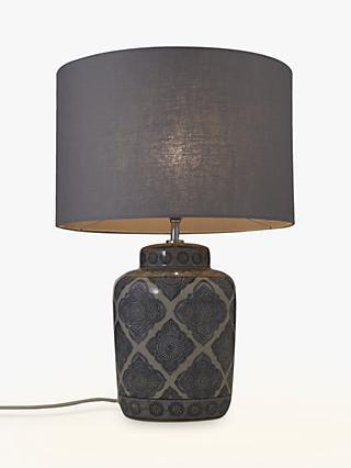 91585cb825bd John Lewis & Partners Coraline Ceramic Lamp Base, Grey, H34.5cm
