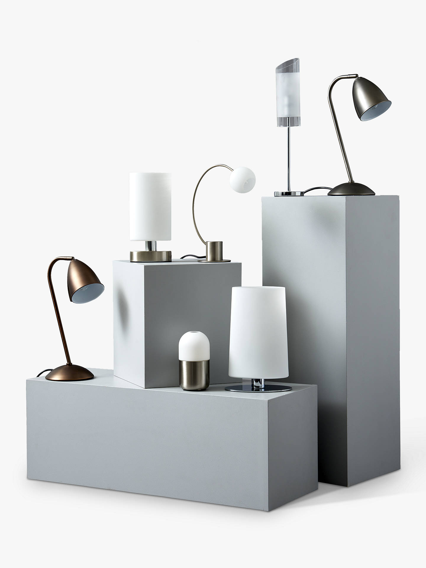 BuyJohn Lewis & Partners Danny Oval Touch Table Lamp, Satin Nickel Online at johnlewis.com