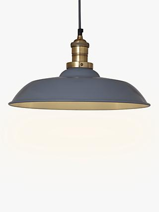 Croft Collection Clyde Brass Trim Ceiling Pendant Light, Grey/Brass