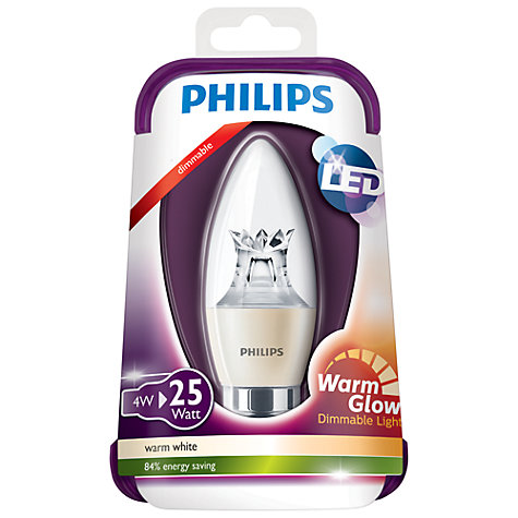 Buy Philips 4W BC LED Clear Candle Bulb Online at johnlewis.com