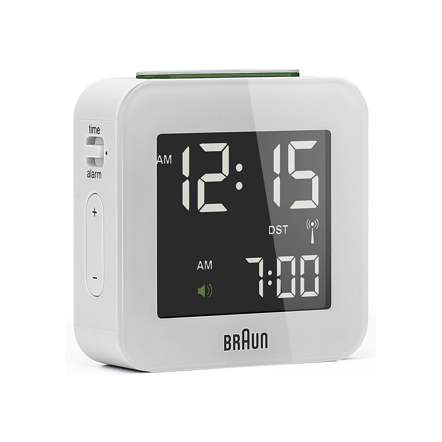 radio controlled travel alarm clock unique alarm clock. Black Bedroom Furniture Sets. Home Design Ideas
