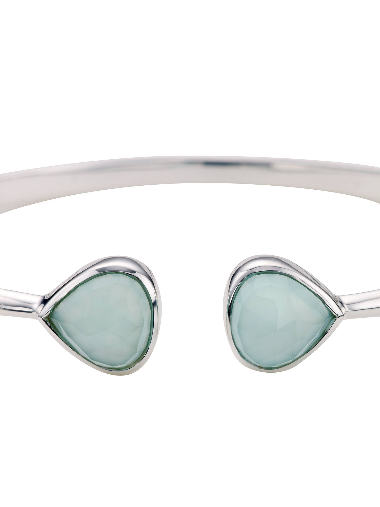 BuyJohn Lewis & Partners Hinged Semi-Precious Stone Bangle, Aqua Chalcedony Online at johnlewis.com