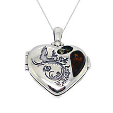 Buy Goldmajor Sterling Silver Amber Heart Locket Pendant, Silver Online at johnlewis.com