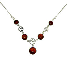 Buy Goldmajor Amber and Sterling Silver Disc Necklace, Silver/Amber Online at johnlewis.com