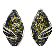 Buy Goldmajor Sterling Silver Marquise Stud Earrings, Green Amber Online at johnlewis.com