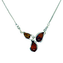 Buy Goldmajor Amber and Sterling Silver Curved Teardrop Collar Necklace, Silver/Amber Online at johnlewis.com