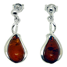 Buy Goldmajor Amber and Sterling Silver Curve Teardrop Earrings, Silver/Amber Online at johnlewis.com